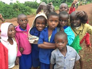 Children from the hills above the ETSK school in Musha, Rwanda